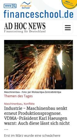 Vorschau der mobilen Webseite www.ad-hoc-news.de, Ad Hoc News