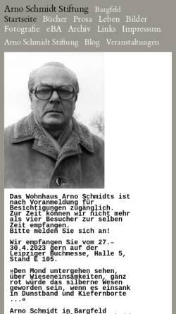 Vorschau der mobilen Webseite www.arno-schmidt-stiftung.de, Arno Schmidt Stiftung