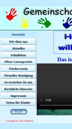 Vorschau der mobilen Webseite www.grundschule-heidkamp.de, Gemeinschaftsgrundschule Heidkamp