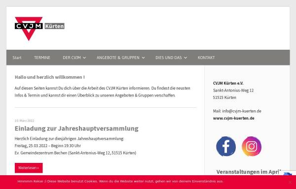 Vorschau von www.cvjm-kuerten.de, CVJM-Kürten