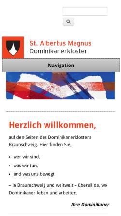 Vorschau der mobilen Webseite www.dominikaner-braunschweig.de, Dominikanerkloster
