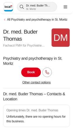 Vorschau der mobilen Webseite yellow.local.ch, Buder, Dr. med. Thomas