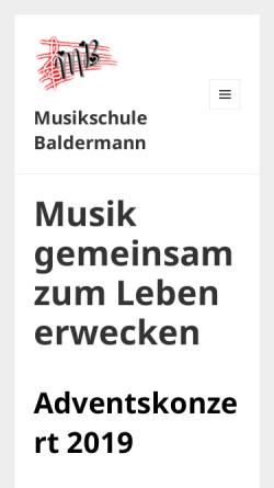 Vorschau der mobilen Webseite www.musikschule-baldermann.de, Musikschule Baldermann