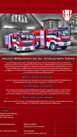 Vorschau der mobilen Webseite www.feuerwehr-ruehme.de, Ortsfeuerwehr Rühme