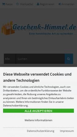 Vorschau der mobilen Webseite www.geschenk-himmel.de, Geschenkhimmel