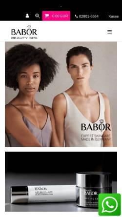 Vorschau der mobilen Webseite www.babor-shop-bercker.de, Babor Beautyworld Ruth Bercker