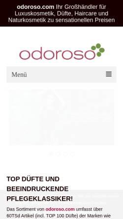Vorschau der mobilen Webseite www.odoroso.com, Odoroso GmbH
