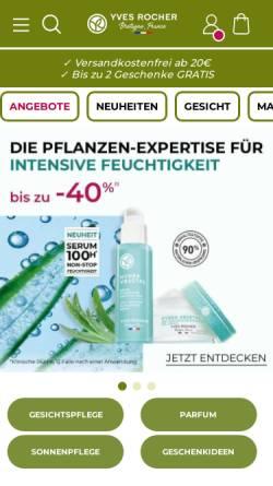 Vorschau der mobilen Webseite www.yves-rocher.de, Yves Rocher Kosmetik GmbH