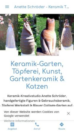Vorschau der mobilen Webseite www.usedom-keramik.de, Kunst und Keramik, Anette Schröder