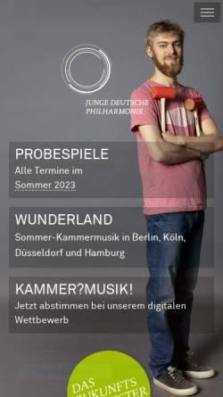 Vorschau der mobilen Webseite www.jdph.de, Junge Deutsche Philharmonie