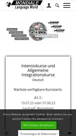 Vorschau der mobilen Webseite www.mondiale.de, Studio Mondiale - Sprachschule