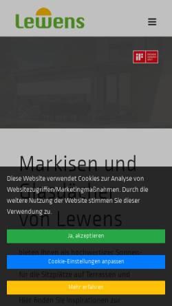 Vorschau der mobilen Webseite www.lewens-markisen.de, Lewens Sonnenschutz Systeme GmbH & Co. KG