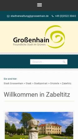 Vorschau der mobilen Webseite www.zabeltitz.de, Zabeltitz