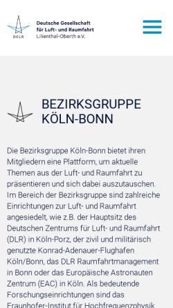Vorschau der mobilen Webseite koeln-bonn.dglr.de, Deutsche Gesellschaft für Luft- und Raumfahrt - Lilienthal - Oberth e.V. DGLR), Bezirksgruppe Köln-Bonn