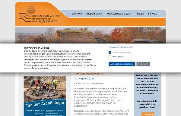 Vorschau von www.archaeologie-stiftung.de, Stiftung zur Förderung der Archäologie im rheinischen Braunkohlenrevier