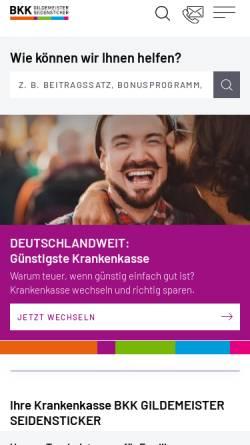 Vorschau der mobilen Webseite www.bkkgilsei.de, BKK Gildemeister/Seidensticker