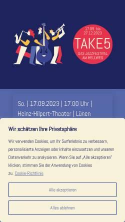 Vorschau der mobilen Webseite www.jazzamhellweg.de, Jazz am Hellweg - Take 5 Jazzfestival