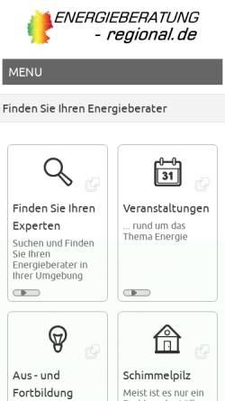 Vorschau der mobilen Webseite www.energieberatung-regional.de, Energieberatung Regional