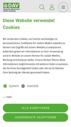 Vorschau der mobilen Webseite www.dav-duisburg.de, Alpenverein Duisburg