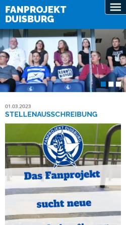 Vorschau der mobilen Webseite www.fanprojekt-duisburg.de, Fanprojekt MSV Duisburg e.V.