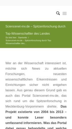 Vorschau der mobilen Webseite www.sciencenet-mv.de, ScienceNet-mv