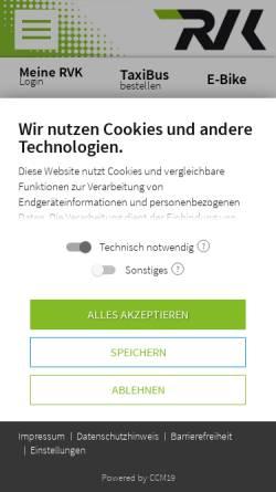 Vorschau der mobilen Webseite www.rvk.de, Regionalverkehr Köln GmbH (RVK)