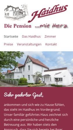 Vorschau der mobilen Webseite www.haidhus.de, Haidhus Pension
