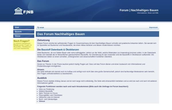 Vorschau von www.nachhaltiges-bauen.de, Forum Nachhaltiges Bauen
