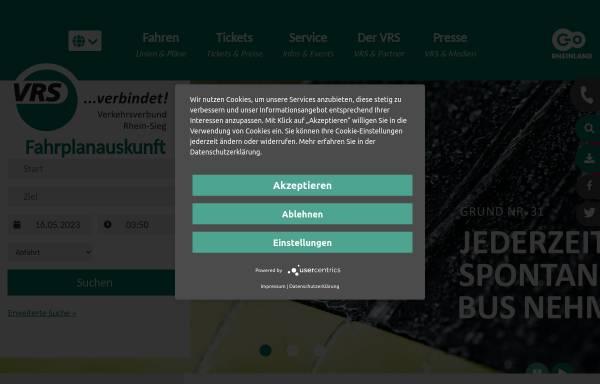 Vorschau von www.vrsinfo.de, Verkehrsverbund Rhein-Sieg (VRS)
