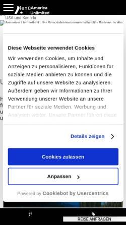 Vorschau der mobilen Webseite www.america-unlimited.de, America Unlimited GmbH