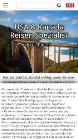 Vorschau der mobilen Webseite exit-reisen.de, Exit Reisen