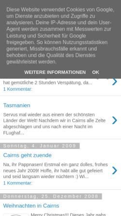 Vorschau der mobilen Webseite tlt-in-australia.blogspot.com, Australien-Blog über ein Auslandssemester