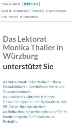 Vorschau der mobilen Webseite www.thaller-lektorat.de, Monika Thaller