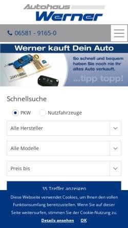 Vorschau der mobilen Webseite www.ford-werner.de, Autohaus Werner GmbH