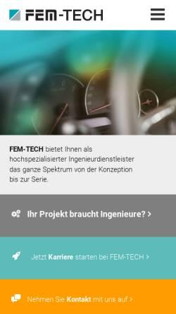 Vorschau der mobilen Webseite www.fem-tech.de, FEM-TECH GmbH