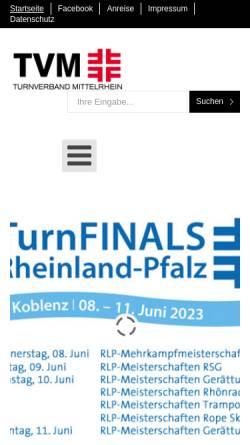 Vorschau der mobilen Webseite www.tvm.org, Turnverband Mittelrhein
