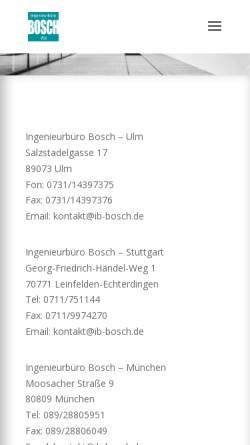 Vorschau der mobilen Webseite www.ib-bosch.de, Ingenieurbüro Bosch - Dipl.-Ing.Claus Bosch