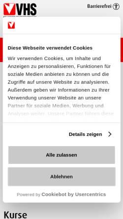 Vorschau der mobilen Webseite www.vhs.at, Moderne Sachlichkeit wider Religion