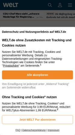 Vorschau der mobilen Webseite www.welt.de, Es ist 3.37 Uhr. Es ist ein wundervoller Morgen