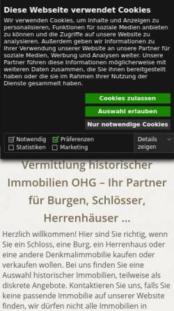 Vorschau der mobilen Webseite www.schloss-burg-verkauf.de, Vermittlung historischer Immobilien OHG