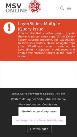 Vorschau der mobilen Webseite msv1920.de, Möringer Sportverein 1920 e.V.