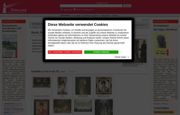 Vorschau von www.zeno.org, Werke von Franz von Stuck