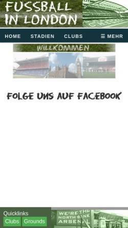 Vorschau der mobilen Webseite www.fussballinlondon.de, Fussballinlondon.de