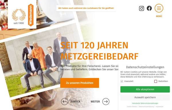 Vorschau von www.wiedemann-augsburg.de, Fleischereibedarfs GmbH & Co.KG - Groß- und Einzelhandel für Metzgerei- und Gastronomiebedarf