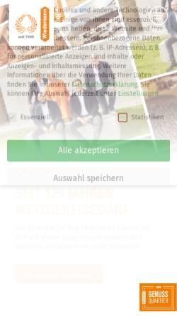 Vorschau der mobilen Webseite www.wiedemann-augsburg.de, Fleischereibedarfs GmbH & Co.KG - Groß- und Einzelhandel für Metzgerei- und Gastronomiebedarf