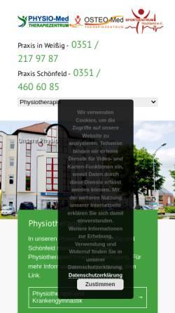 Vorschau der mobilen Webseite www.bewegung-in-sachsen.de, Physio-Med. Therapiezentrum Schönfeld