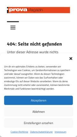 Vorschau der mobilen Webseite www.prova.de, Magazin für automobile Avantgarde