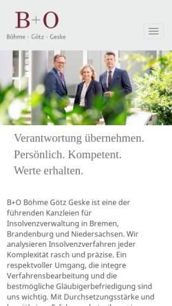 Vorschau der mobilen Webseite www.bo-oelb.de, B+O Böhme Oelbermann