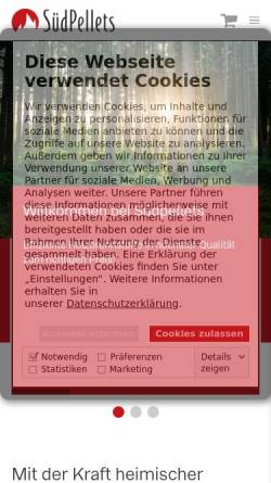 Vorschau der mobilen Webseite www.suedpellets.de, Südpellets, Jörg Helber