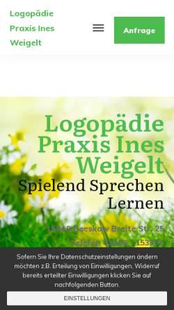 Vorschau der mobilen Webseite www.logopaedie-beeskow.de, Logopädie und Ergotherapie Ines Weigelt